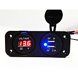 2 Hole Panel Voltmeter and Dual USB Car Charger Socket
