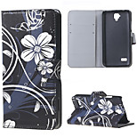 White Flowers Magnetic PU Leather wallet Flip Stand Cover Case For Huawei Ascend Y5/y560