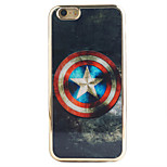 Captain America Shield Pattern Black Gold Plated High-Grade TPU Phone Case for iPhone 6 Plus/6S Plus