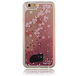 Pink Cherry Blossom  Black Cat Pattern PC Material Stereoscopic Stars Quicksand Phone Case for iPhone 6 / 6S