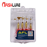 Afishlure Copper Metal Bait Jigs Spinner Baits Spoons Trolling Lure 4 pcs,5 g/1/6 oz. 80mm /3-1/4