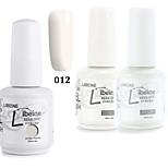 libeine 1set (Farbe 012 + Basislack + Spitzenmantel) 3pcs tränken weg 15 ml UVgelNagellack Farbengelpolier