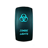Iztoss 5Pin LASER ZOMBIE Rocker Switch ON-OFF LED Light 20A 12V Blue with wires to install
