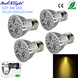 YouOKLight® 4PCS E27 3W 300lm 3000K Warm White  Light 3-High Power LED Spotlight (AC110-120V/220-240V)