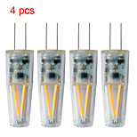 4 stuks Kakanuo G4 1.5 W 2pcs Filament COB COB 120-150lm LM Warm wit T Decoratief 2-pins lampen DC 12 / AC 12 V