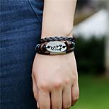 Unisex Alloy Leather Handcrafted Vintage Bracelet
