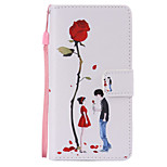 Lovers Rose Painted PU Phone Case for Huawei P8 Lite/P8