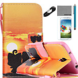 COCO FUN® Lover Pattern PU Leather Case with V8 USB Cable Flim Stylus and Stand for Samsung Galaxy S4/S4 MINI/S5/S5 MINI