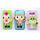 Chicken/Monkey/Dragon PC With A Fluffy Back Case For Iphone 6/6S