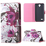 Purple Flowers  Magnetic PU Leather wallet Flip Stand Cover Case For Huawei Ascend Y5/y560