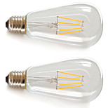 2 pcs Kakanuo E26/E27 4W 4X Filament COB 360lm Warm White LED ST64 Retro LED Filament Bulbs AC 85-265V