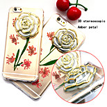 3D The New Embedded Herbarium Real Flowers Roses Green Pattern TPU Material Phone Case for iPhone 6 / 6S