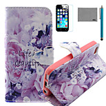LEXY® Life Is Beautiful Pattern PU Full Body Leather Case with Screen Protector and Stylus for iPhone 5C