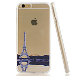 Transmission Tower Embossment Dull Polish Side + Transparent TPU Soft Phone Case for iPhone 6/6S