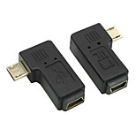 CY® Female MINI USB to Left and Right Turning Male Micro USB Adapter