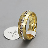 Band Rings Steel 18K gold Simulated Diamond Fashion Screen Color Jewelry Party 1pc