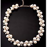Naisten Statement kaulakorut Pearl Strands Helmi jäljitelmä Diamond Metalliseos söpö tyyli Valkoinen Korut Varten Party