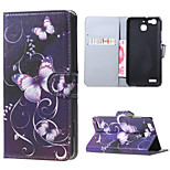 Purple Butterfly Magnetic PU Leather wallet Flip Stand Case cover for Huawei Ascend P9