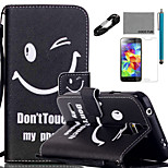 COCO FUN® Smile face Pattern PU Leather Case with V8 USB Cable, Flim and Stylus for Samsung Galaxy S5 MINI
