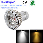 YouOKLight® 1PCS Dimmable LED 3W GU10 260LM 3000K Warm White/ 6000K White Light  Spotlight Bulb-(AC110-120V/220-240V)