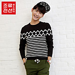 CELUCASN Men's Round Neck Long Sleeve Sweater & Cardigan Black - P5SO6375N0102