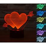 visuell 3d hjerteformet modell humør atmosfæren ledet dekorasjon usb bordlampe fargerik gave nattlys