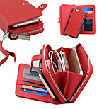 Embossed PU Leather Separation  Purse Zipper Multifunction Lanyard  Phone Case for iPhone 6 / 6S (Assorted Colors)
