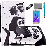 COCO FUN® Flower Girl Pattern PU Leather Case with V8 USB Cable, Flim and Stylus for Samsung Galaxy Note 5