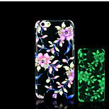 modello di fiori bagliore sulla cover posteriore in plastica dura scuro per iphone 6 per caso 6s iphone