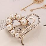 New Arrival Fashion Jewelry Rhinestone Heart Pearl Brooch