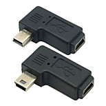CY® Female Mini USB to Male Left and Right Turning Mini USB Adapter
