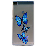 Butterfly Embossment Dull Polish Frame + Transparent TPU Soft Phone Case for Huawei P8/P8 Lite