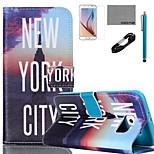 nueva york patrón pu cuero flim cable caso de coco Fun® y el lápiz para el mini Samsung Galaxy S4 / S4 / S5 / s5 Mini / s6 / borde s6