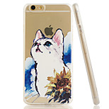 Kitty Embossment Dull Polish Side + Transparent TPU Soft Phone Case for iPhone 6/6S