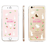 White Rabbit Floral Pattern Transparent TPU Material Phone Case for iPhone 6/ 6S