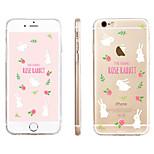 conejo blanco estampado de flores caja del teléfono material de TPU transparente para el iphone 6 / 6s