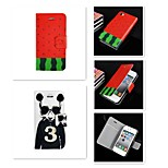 3 Cartoon Logo Pattern PU Leather Full Body Case for iPhone 4/4S