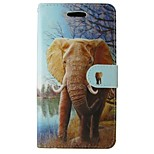 Orange Elephant Painted PU Phone Case for iphone5/5S