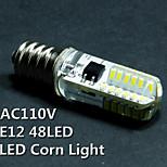 Bombillas Mazorca Decorativa UAU T E12 2 W 48 SMD 3014 100-120lm±5% LM Blanco Cálido / Blanco Fresco AC 110-130 V 5 piezas