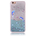 Silver Bathing Dolphin Pattern PC Material Stereoscopic Stars Quicksand Phone Case for iPhone 6 / 6S