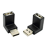 CY® USB 2.0 Male to Female 90 Degree Downward Adapter (Black,2 pcs)