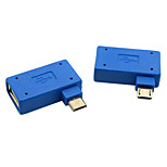 CY® USB 2.0 to Left and Right Bank Micro USB OTG Connector (Blue,1 set)