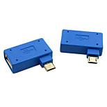 usb cy® 2.0 a sinistra e il connettore micro usb OTG riva destra (blu, 1 set)
