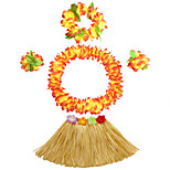 30cm Kid's Fire-Proof Double Layers Hawaiian Carnival Hula Dress Wristbands Necklace and Headpiece