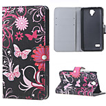 Butterfly Flowers Magnetic PU Leather wallet Flip Stand Cover Case For Huawei Ascend Y5/y560