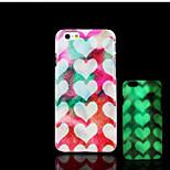 cuore modello bagliore sulla cover posteriore in plastica dura scuro per iphone 6 per caso 6s iphone