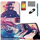 coco fun® grande modello storia estate caso cuoio dell'unità di elaborazione con il cavo usb v8 flim e lo stilo per Samsung Galaxy Note 3