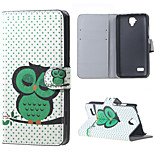 Sleeping Owl on the Branch Magnetic PU Leather wallet Flip Stand Cover Case For Huawei Ascend Y5/y560