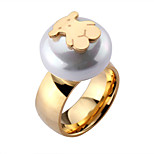 Fashionable Stainless Steel Round Pearl Cute Gold Silver Bear Unadjustable Finger Ring(1PC)