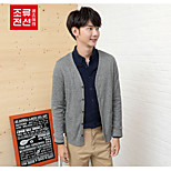 CELUCASN Hombre Escote Redondo Manga Larga Suéter y Cardigan Negro - P5QOZ153N0102